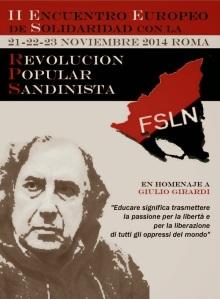 cartel encuentro europeo de solidaridad con la RPS roma Sandinismo